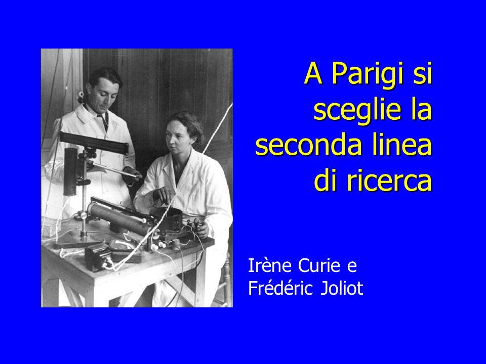 A Parigi si sceglie la seconda linea di ricerca Irène Curie e Frédéric Joliot