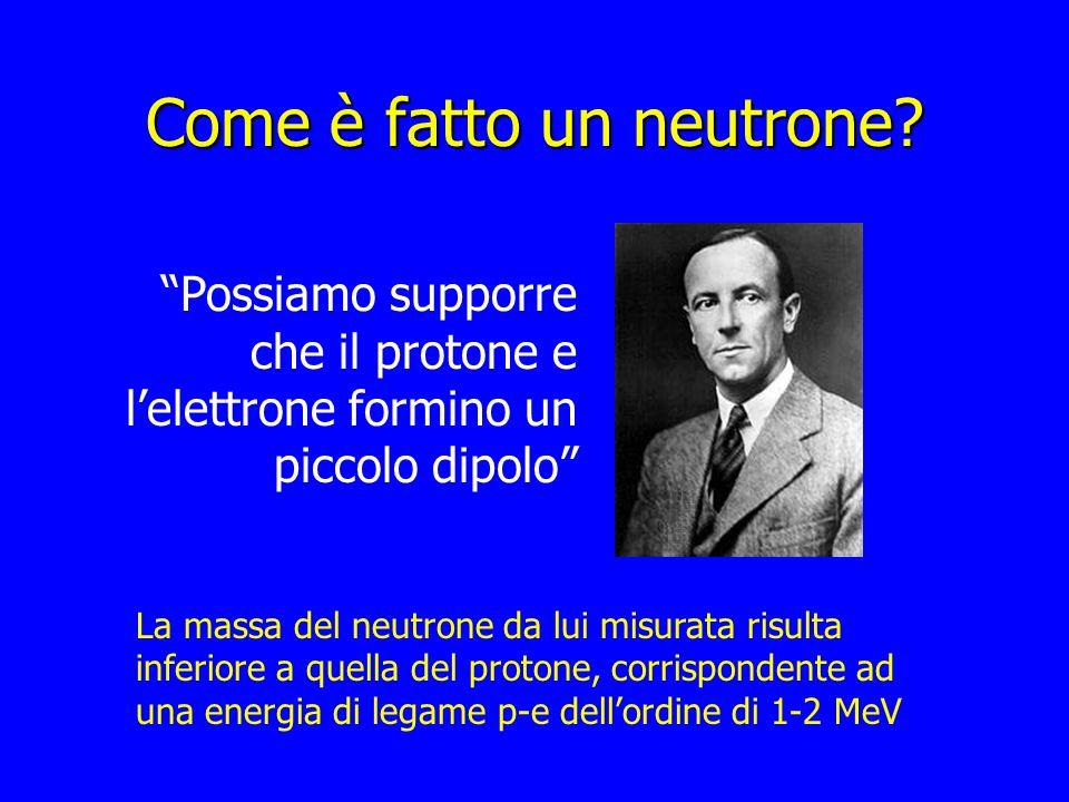 Come è fatto un neutrone? Possiamo supporre che il protone e lelettrone formino un piccolo dipolo La massa del neutrone da lui misurata risulta inferi