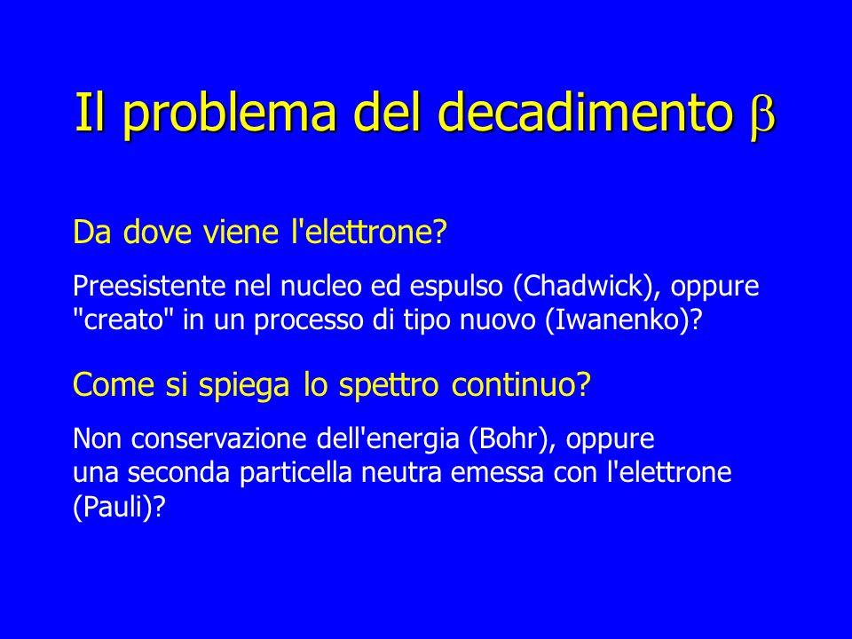 Il problema del decadimento Il problema del decadimento Da dove viene l'elettrone? Preesistente nel nucleo ed espulso (Chadwick), oppure