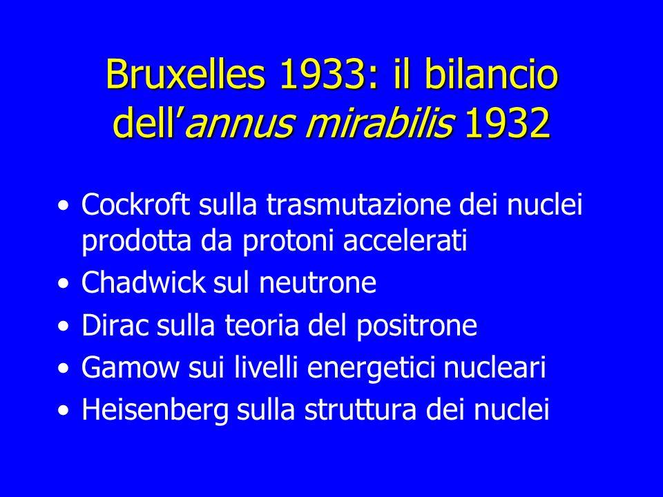 Bruxelles 1933: il bilancio dellannus mirabilis 1932 Cockroft sulla trasmutazione dei nuclei prodotta da protoni accelerati Chadwick sul neutrone Dira