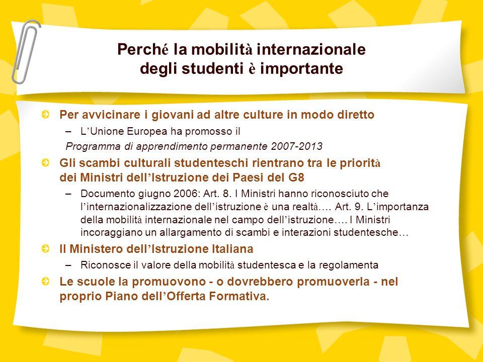 Due sono i principali programmi di ospitalità 1 - programma di ospitalità di studenti stranieri nelle scuole italiane; 2 - programma di ospitalità di studenti italiani allestero.