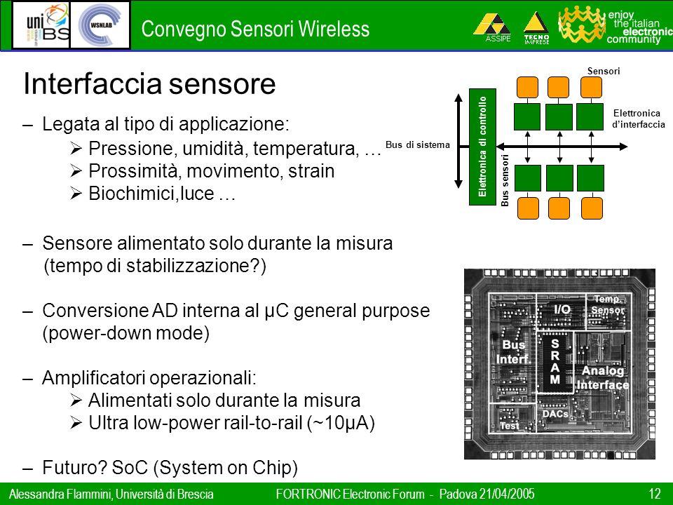 Convegno Sensori Wireless Alessandra Flammini, Università di BresciaFORTRONIC Electronic Forum - Padova 21/04/2005 12 Interfaccia sensore –Legata al t