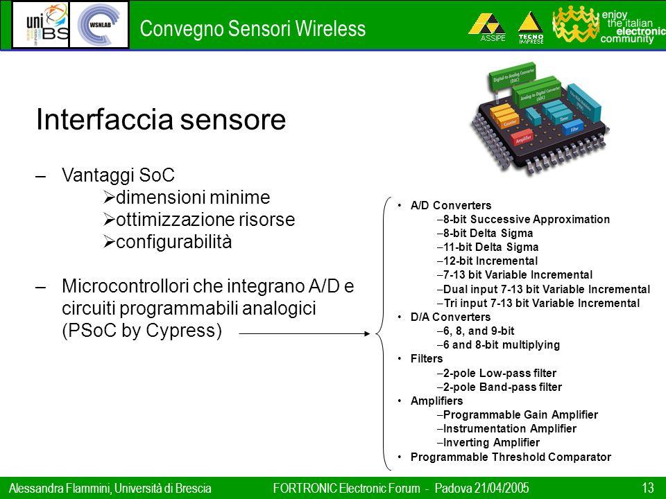 Convegno Sensori Wireless Alessandra Flammini, Università di BresciaFORTRONIC Electronic Forum - Padova 21/04/2005 13 Interfaccia sensore –Vantaggi So