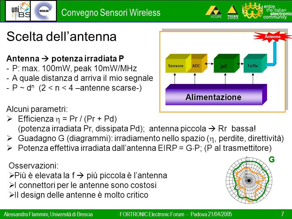 Convegno Sensori Wireless Alessandra Flammini, Università di BresciaFORTRONIC Electronic Forum - Padova 21/04/2005 7 Alimentazione ADC c Tx/RxSensore