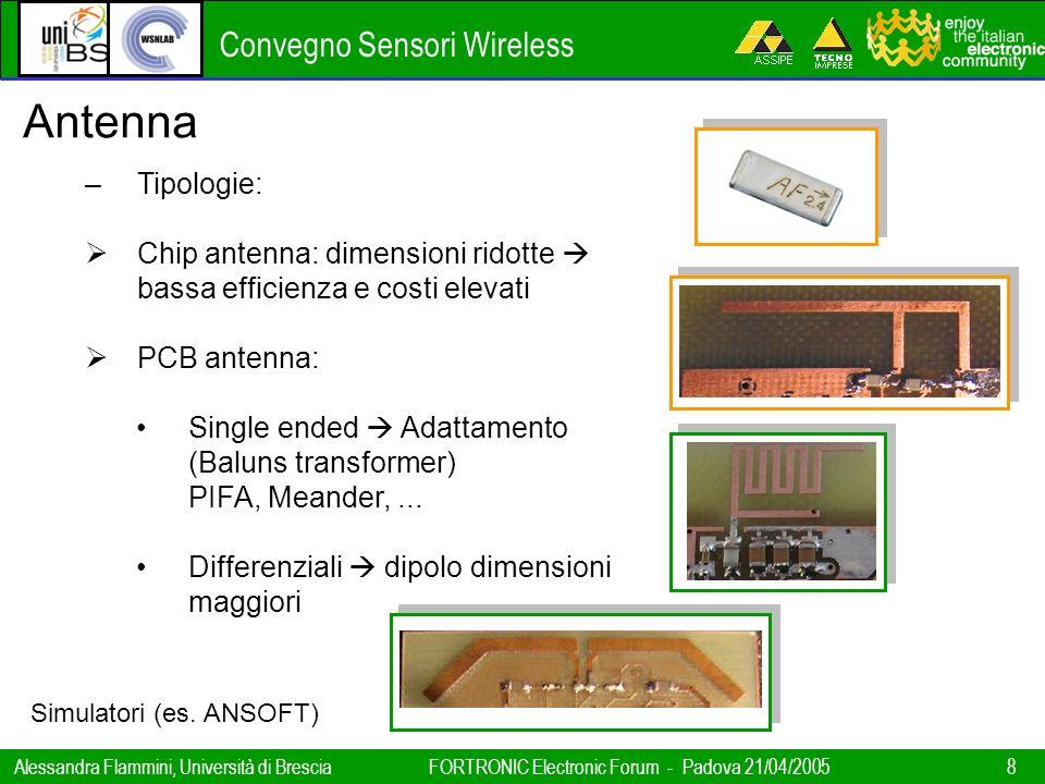 Convegno Sensori Wireless Alessandra Flammini, Università di BresciaFORTRONIC Electronic Forum - Padova 21/04/2005 8 Antenna –Tipologie: Chip antenna:
