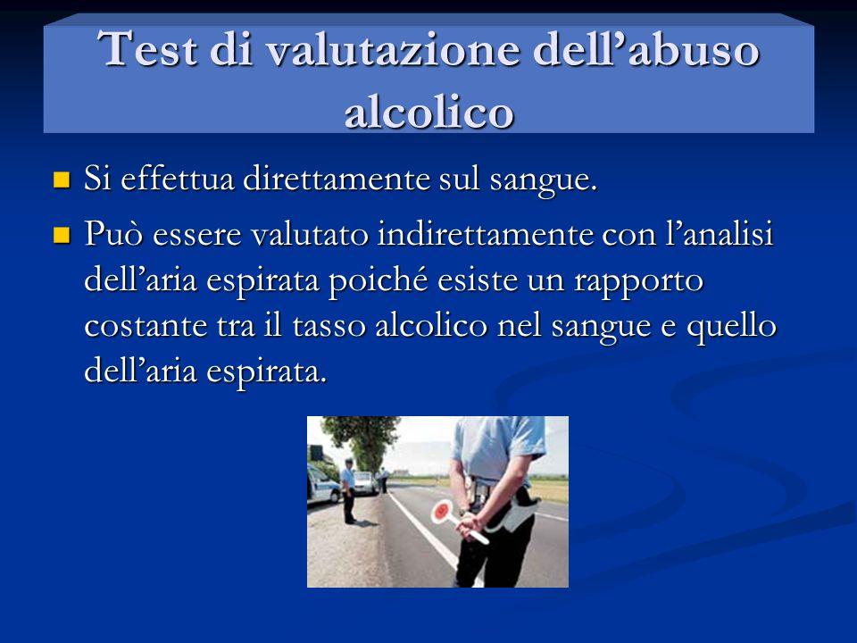 Test di valutazione dellabuso alcolico Si effettua direttamente sul sangue. Si effettua direttamente sul sangue. Può essere valutato indirettamente co