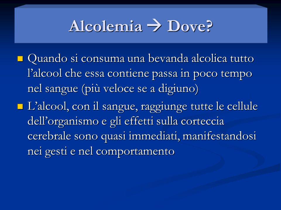 Alcolemia e rischio Ad alcolemia 0.5 il rischio di incidenti è raddoppiato Ad alcolemia 0.5 il rischio di incidenti è raddoppiato Ad alcolemia 1.5 il rischio è moltiplicato di 16 volte Ad alcolemia 1.5 il rischio è moltiplicato di 16 volte Ad alcolemia 2 è di 35 volte in su.