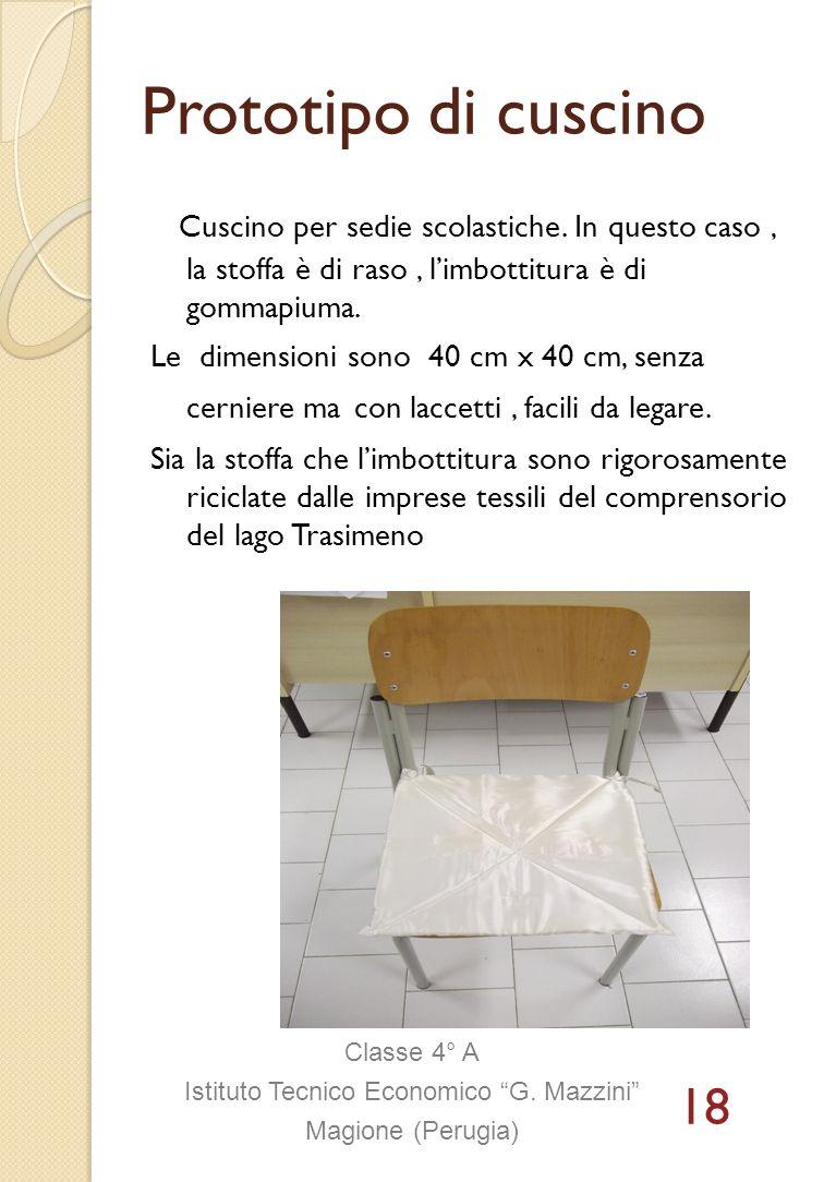 Prototipo di cuscino Cuscino per sedie scolastiche. In questo caso, la stoffa è di raso, limbottitura è di gommapiuma. Le dimensioni sono 40 cm x 40 c