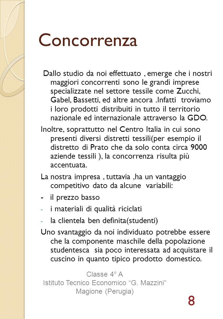 Concorrenza Dallo studio da noi effettuato, emerge che i nostri maggiori concorrenti sono le grandi imprese specializzate nel settore tessile come Zuc