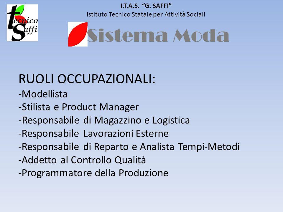 Sistema Moda I.T.A.S. G. SAFFI Istituto Tecnico Statale per Attività Sociali RUOLI OCCUPAZIONALI: -Modellista -Stilista e Product Manager -Responsabil