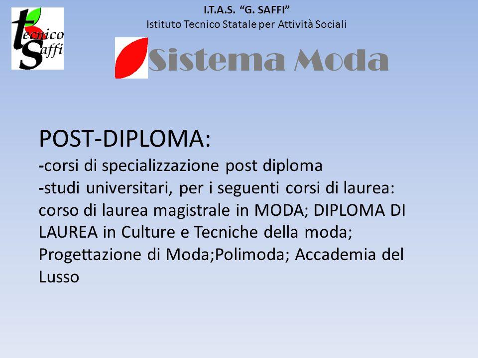 Sistema Moda I.T.A.S. G. SAFFI Istituto Tecnico Statale per Attività Sociali POST-DIPLOMA: -corsi di specializzazione post diploma -studi universitari