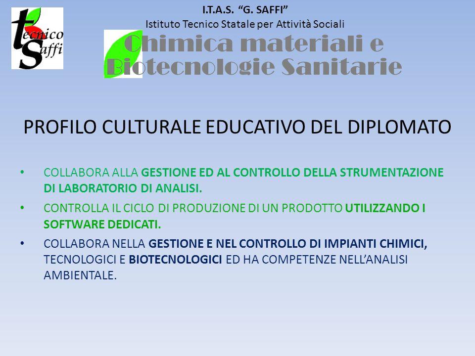 I.T.A.S. G. SAFFI Istituto Tecnico Statale per Attività Sociali PROFILO CULTURALE EDUCATIVO DEL DIPLOMATO COLLABORA ALLA GESTIONE ED AL CONTROLLO DELL
