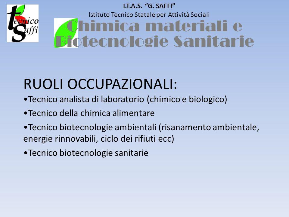 I.T.A.S. G. SAFFI Istituto Tecnico Statale per Attività Sociali RUOLI OCCUPAZIONALI: Tecnico analista di laboratorio (chimico e biologico) Tecnico del