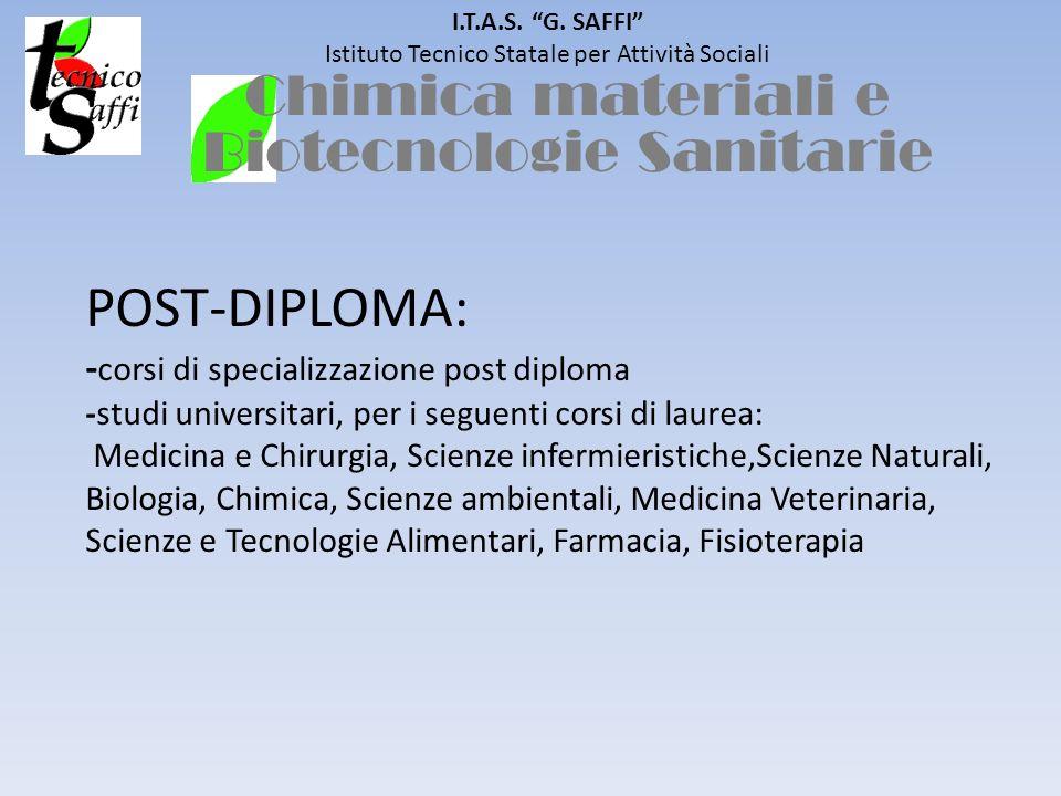 I.T.A.S. G. SAFFI Istituto Tecnico Statale per Attività Sociali POST-DIPLOMA: - corsi di specializzazione post diploma -studi universitari, per i segu