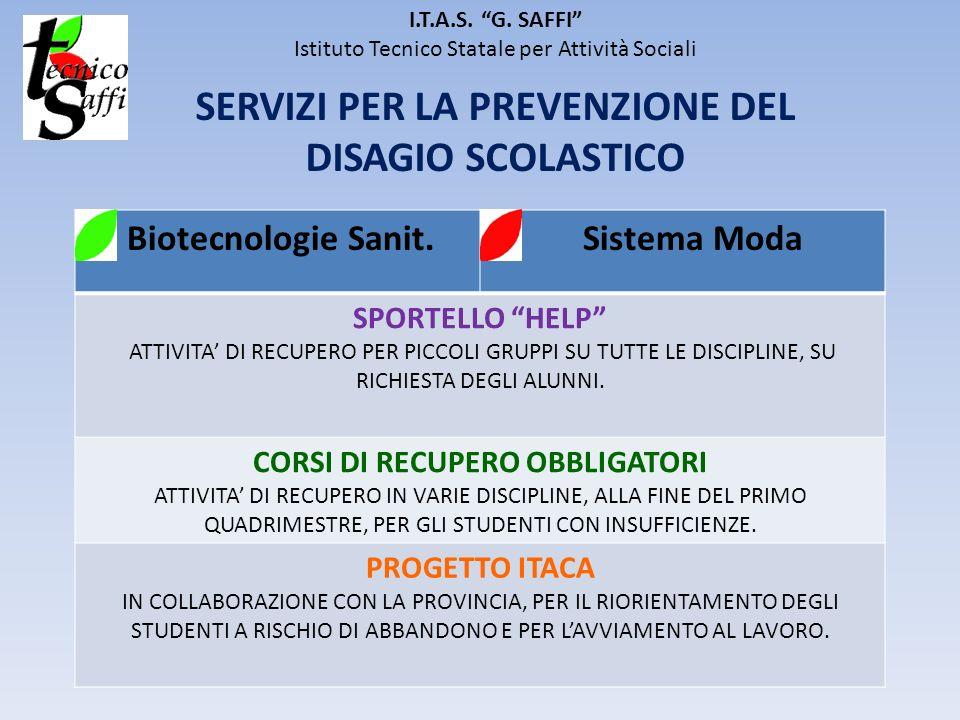 I.T.A.S. G. SAFFI Istituto Tecnico Statale per Attività Sociali SERVIZI PER LA PREVENZIONE DEL DISAGIO SCOLASTICO Biotecnologie Sanit. Sistema Moda SP