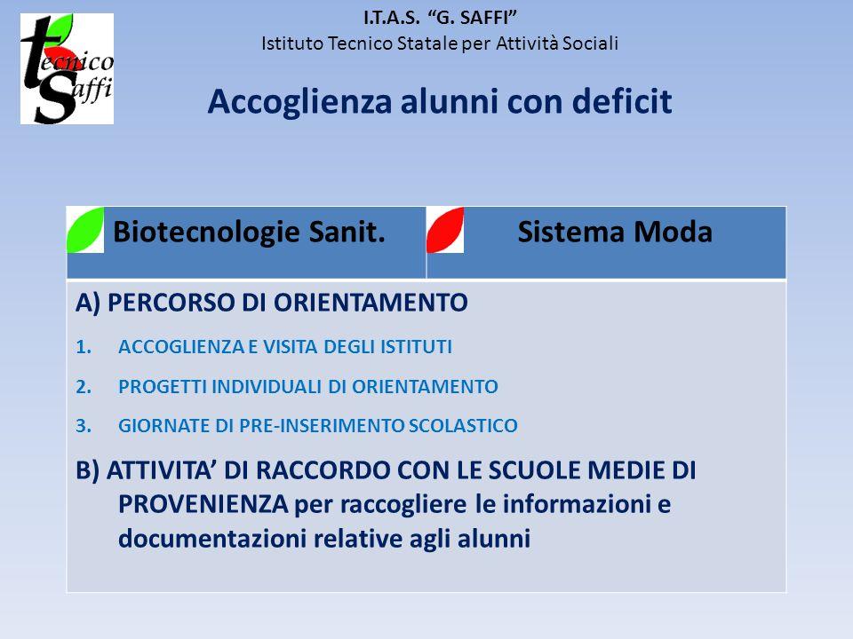 I.T.A.S. G. SAFFI Istituto Tecnico Statale per Attività Sociali Accoglienza alunni con deficit Biotecnologie Sanit. Sistema Moda A) PERCORSO DI ORIENT