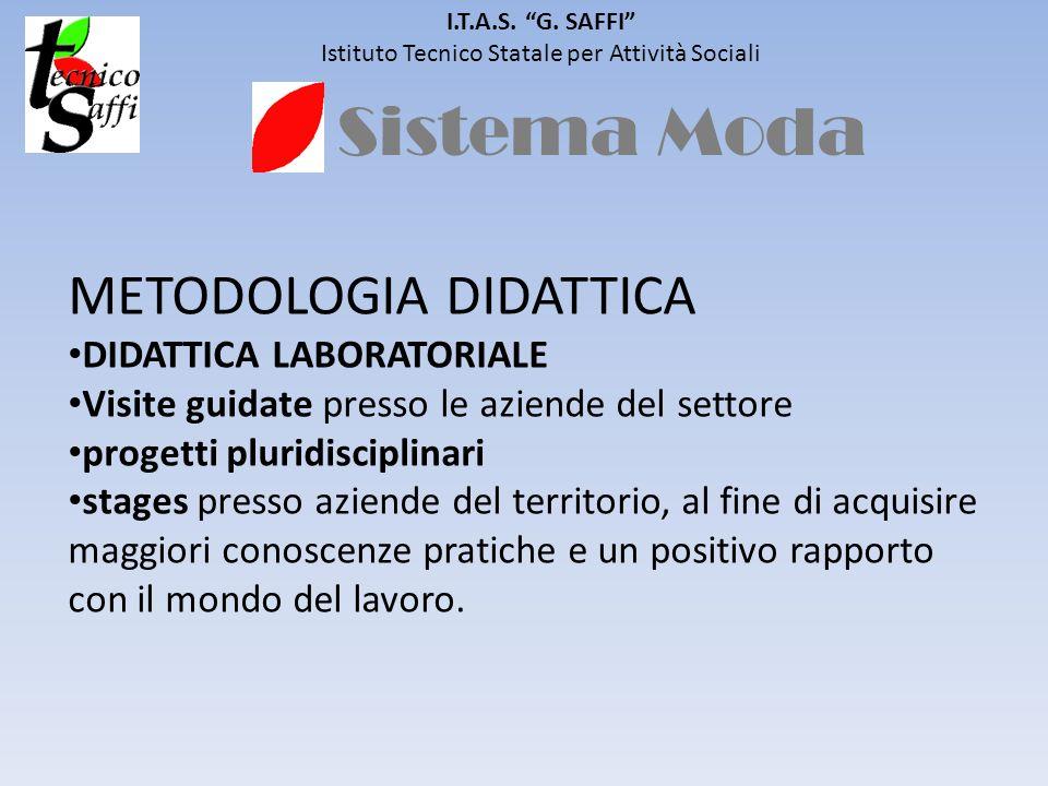 Sistema Moda I.T.A.S. G. SAFFI Istituto Tecnico Statale per Attività Sociali METODOLOGIA DIDATTICA DIDATTICA LABORATORIALE Visite guidate presso le az