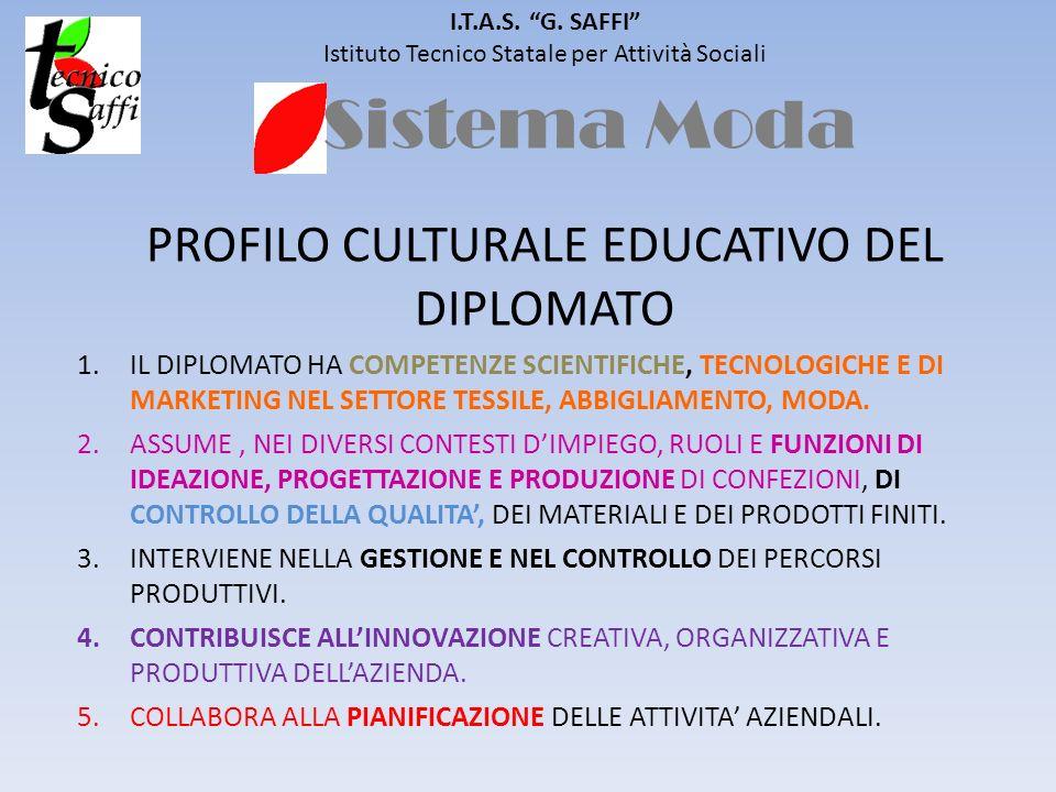 Sistema Moda I.T.A.S. G. SAFFI Istituto Tecnico Statale per Attività Sociali PROFILO CULTURALE EDUCATIVO DEL DIPLOMATO 1.IL DIPLOMATO HA COMPETENZE SC