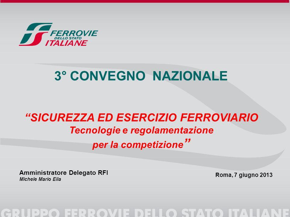 Roma, 7 giugno 2013 3° CONVEGNO NAZIONALE SICUREZZA ED ESERCIZIO FERROVIARIO Tecnologie e regolamentazione per la competizione Amministratore Delegato