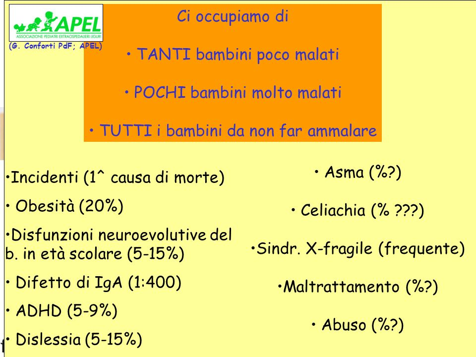 www.fimpliguria.it www.apel-pediatri.it Problematiche del Pediatra di Famiglia Ci occupiamo di TANTI bambini poco malati POCHI bambini molto malati TU