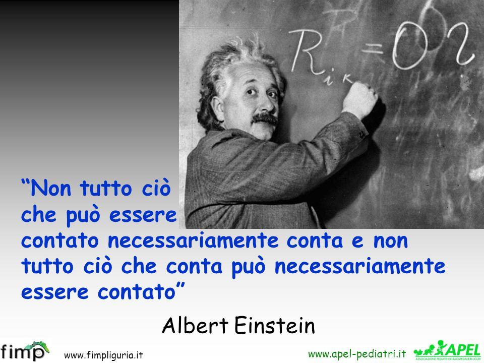 www.fimpliguria.it www.apel-pediatri.it Non tutto ciò che può essere contato necessariamente conta e non tutto ciò che conta può necessariamente esser