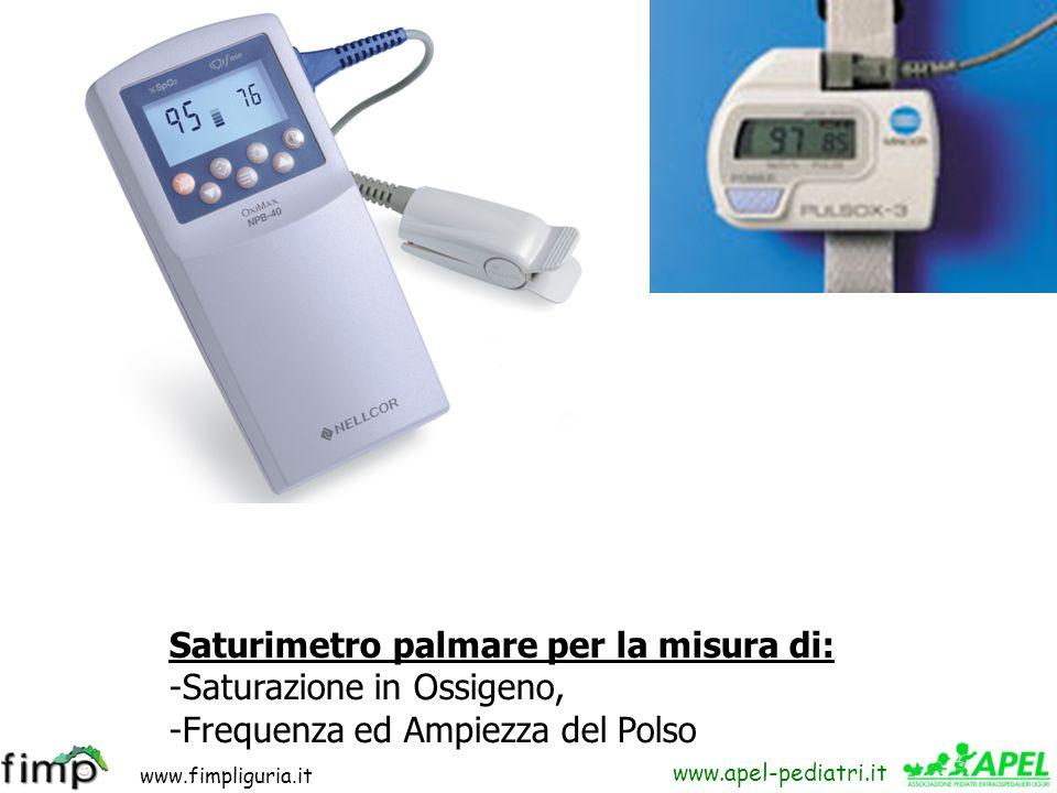 www.fimpliguria.it www.apel-pediatri.it Saturimetro palmare per la misura di: -Saturazione in Ossigeno, -Frequenza ed Ampiezza del Polso