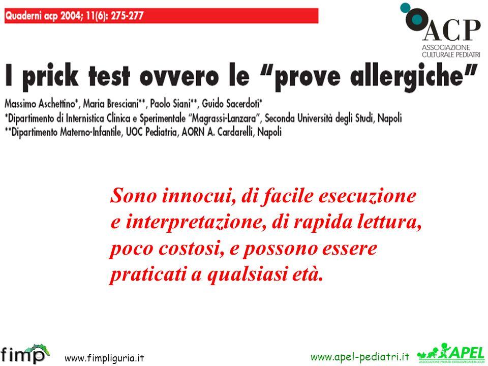 www.fimpliguria.it www.apel-pediatri.it Sono innocui, di facile esecuzione e interpretazione, di rapida lettura, poco costosi, e possono essere pratic