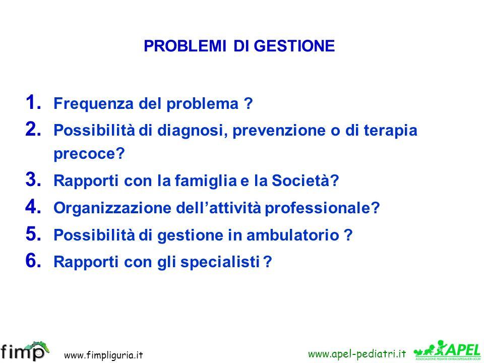 www.fimpliguria.it www.apel-pediatri.it 1. Frequenza del problema ? 2. Possibilità di diagnosi, prevenzione o di terapia precoce? 3. Rapporti con la f