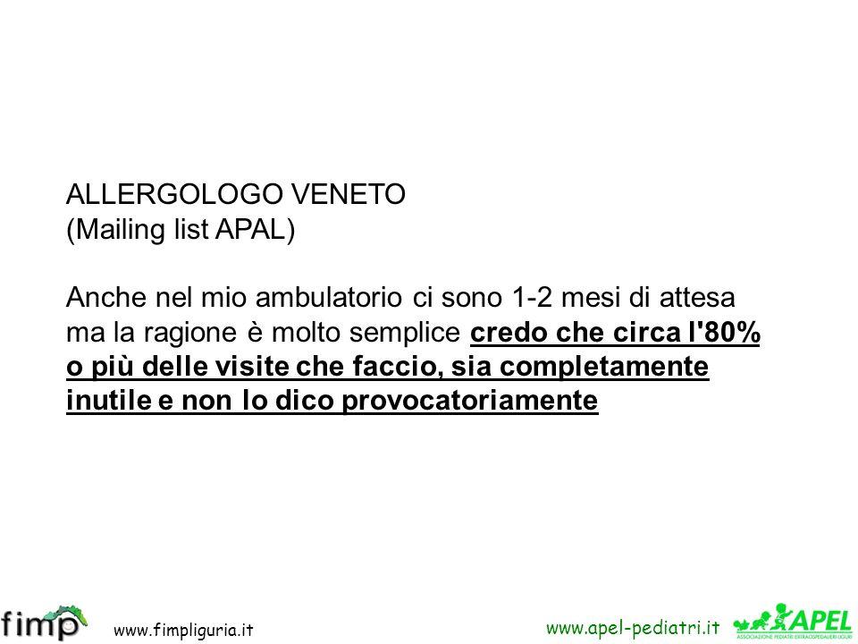 www.fimpliguria.it www.apel-pediatri.it ALLERGOLOGO VENETO (Mailing list APAL) Anche nel mio ambulatorio ci sono 1-2 mesi di attesa ma la ragione è mo
