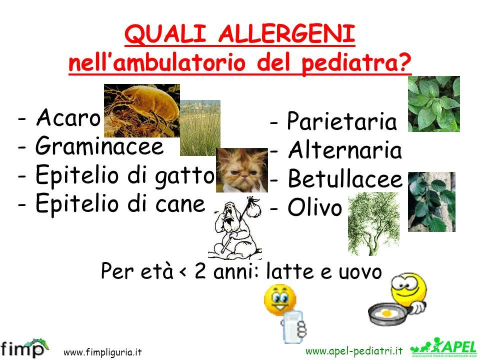 www.fimpliguria.it www.apel-pediatri.it QUALI ALLERGENI nellambulatorio del pediatra? -Acaro -Graminacee -Epitelio di gatto -Epitelio di cane -Parieta