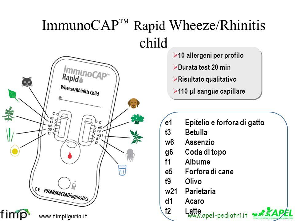 www.fimpliguria.it www.apel-pediatri.it ImmunoCAP Rapid Wheeze/Rhinitis child 10 allergeni per profilo Durata test 20 min Risultato qualitativo 110 µl