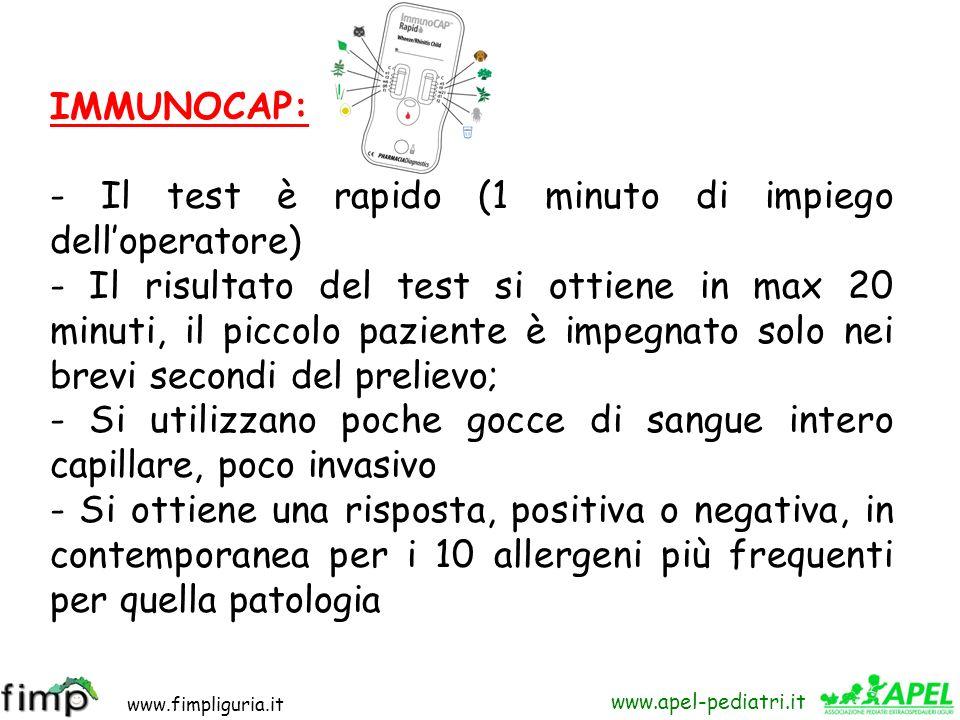 www.fimpliguria.it www.apel-pediatri.it IMMUNOCAP: - Il test è rapido (1 minuto di impiego delloperatore) - Il risultato del test si ottiene in max 20
