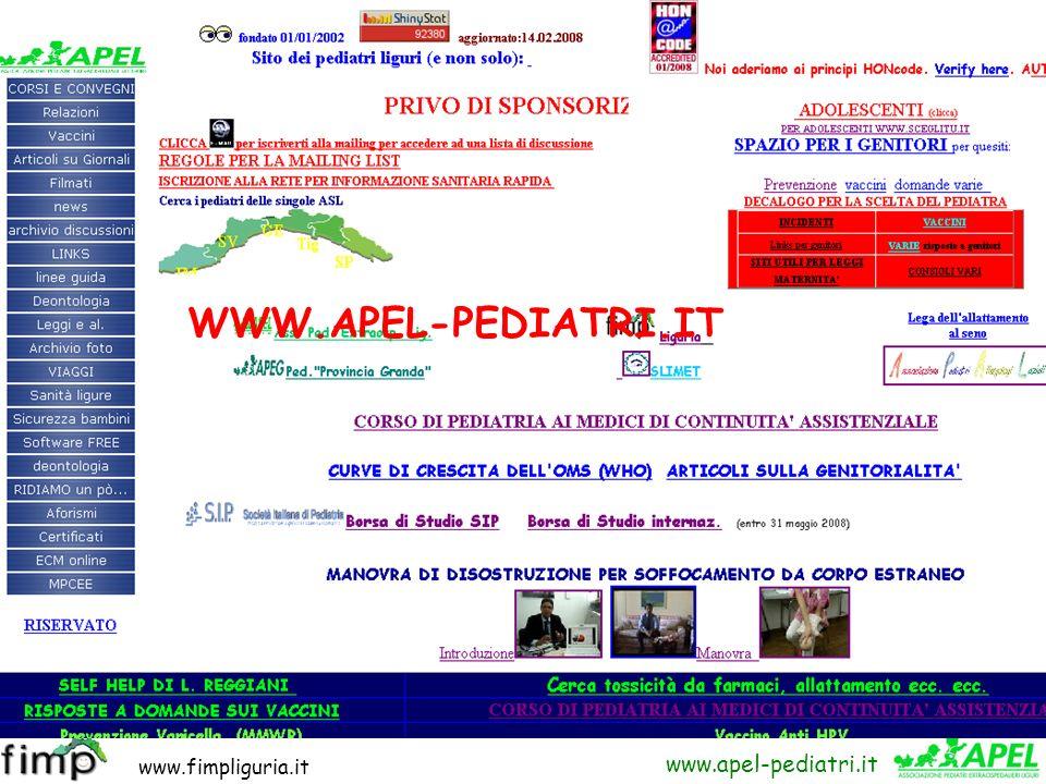 www.fimpliguria.it www.apel-pediatri.it Ma come faccio a sapere, discutere di queste cose chiuso come sono nel mio ambulatorio e poi a fare visite a d
