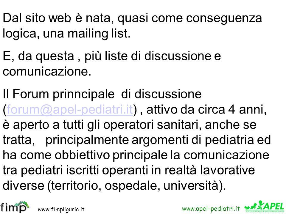 www.fimpliguria.it www.apel-pediatri.it Dal sito web è nata, quasi come conseguenza logica, una mailing list. E, da questa, più liste di discussione e