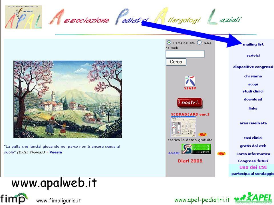 www.fimpliguria.it www.apel-pediatri.it www.apalweb.it