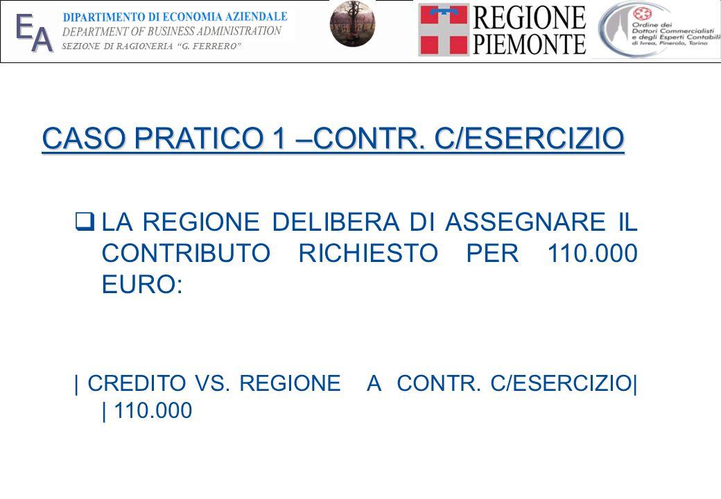 E A SEZIONE DI RAGIONERIA G. FERRERO 16 CASO PRATICO 1 –CONTR. C/ESERCIZIO LA REGIONE DELIBERA DI ASSEGNARE IL CONTRIBUTO RICHIESTO PER 110.000 EURO: