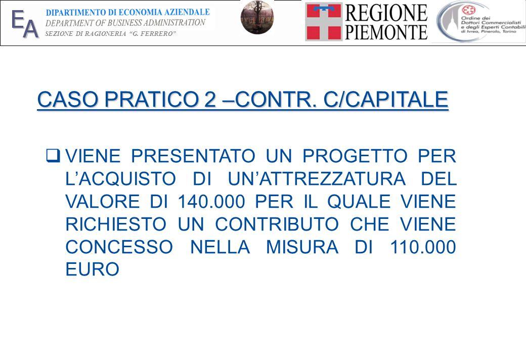 E A SEZIONE DI RAGIONERIA G. FERRERO 20 CASO PRATICO 2 –CONTR. C/CAPITALE VIENE PRESENTATO UN PROGETTO PER LACQUISTO DI UNATTREZZATURA DEL VALORE DI 1