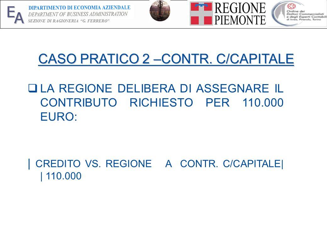 E A SEZIONE DI RAGIONERIA G. FERRERO 21 CASO PRATICO 2 –CONTR. C/CAPITALE LA REGIONE DELIBERA DI ASSEGNARE IL CONTRIBUTO RICHIESTO PER 110.000 EURO: |
