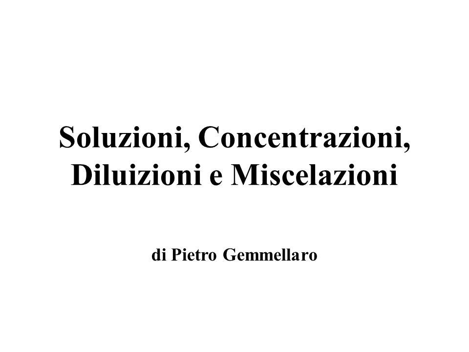 CONCENTRAZIONE La concentrazione rappresenta la quantità di soluto che si trova sciolta nella soluzione.