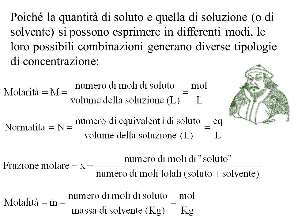 Poiché la quantità di soluto e quella di soluzione (o di solvente) si possono esprimere in differenti modi, le loro possibili combinazioni generano di