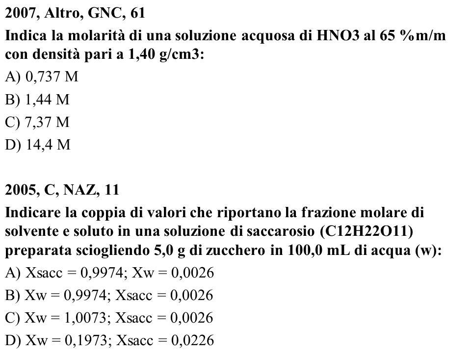2007, Altro, GNC, 61 Indica la molarità di una soluzione acquosa di HNO3 al 65 %m/m con densità pari a 1,40 g/cm3: A) 0,737 M B) 1,44 M C) 7,37 M D) 1