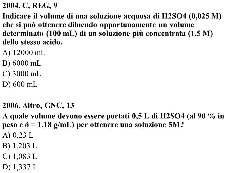 2004, C, REG, 9 Indicare il volume di una soluzione acquosa di H2SO4 (0,025 M) che si può ottenere diluendo opportunamente un volume determinato (100