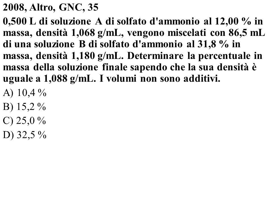 2008, Altro, GNC, 35 0,500 L di soluzione A di solfato d'ammonio al 12,00 % in massa, densità 1,068 g/mL, vengono miscelati con 86,5 mL di una soluzio