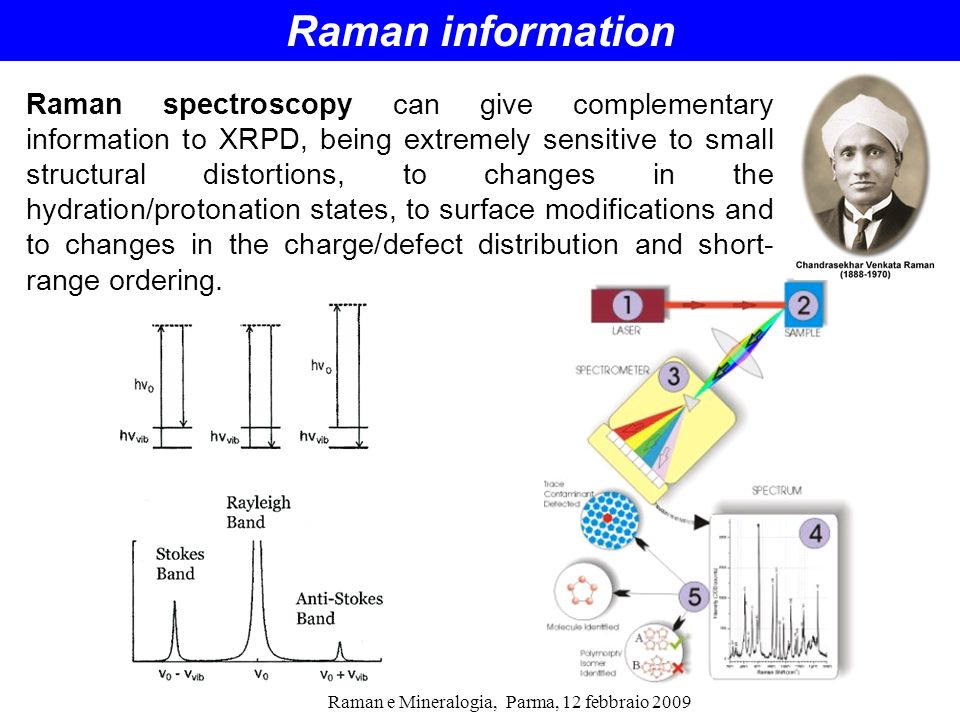 Raman e Mineralogia, Parma, 12 febbraio 2009 Raman spectroscopy can give complementary information to XRPD, being extremely sensitive to small structu