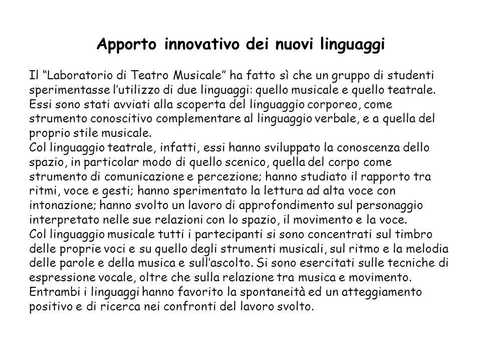 Apporto innovativo dei nuovi linguaggi Il Laboratorio di Teatro Musicale ha fatto sì che un gruppo di studenti sperimentasse lutilizzo di due linguagg