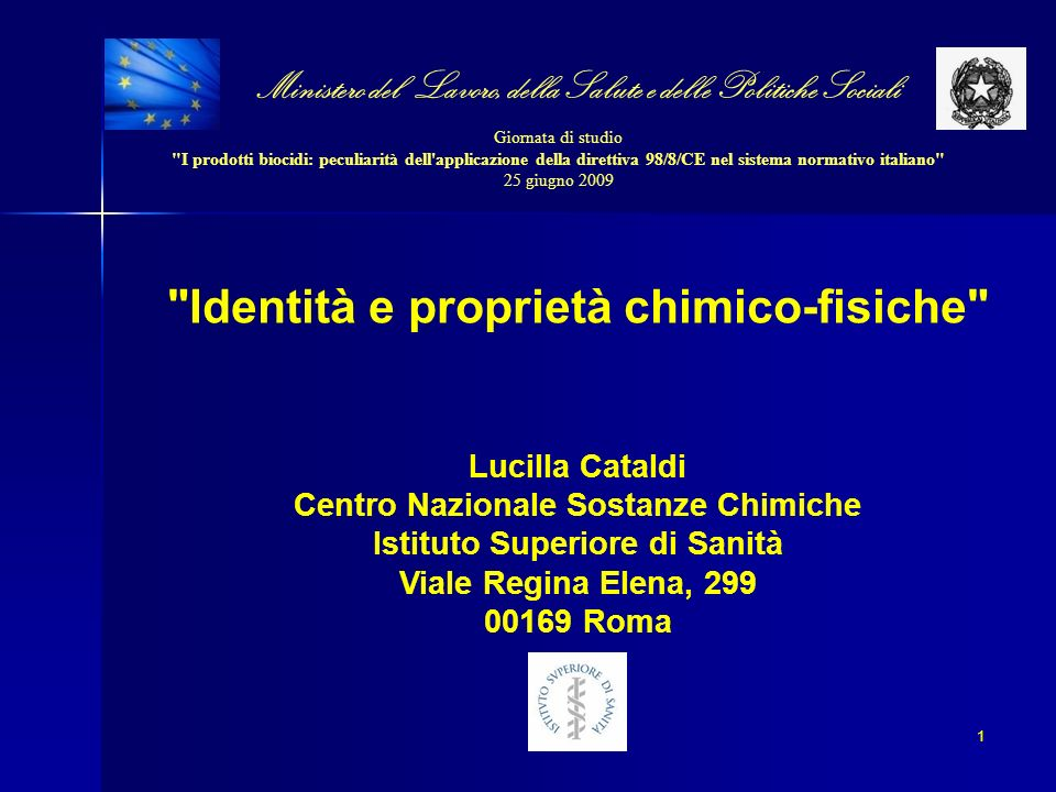 BPD 1 Annex IIA, section II IDENTITA principi attivi TNsG 2 Chapter 2, part A, 2 BPD 1 Annex IIB, section II IDENTITA prodotti biocidi TNsG 2 Chapter 2, part B, 2 PROPRIETA FISICHE E CHIMICHE principi attivi BPD 1 Annex IIA, section II & Annex IIIA, section III TNsG 2 Chapter 2, part A, 3 & Chapter 3, part A, 3 PROPRIETA FISICHE, CHIMICHE E TECNICHE prodotti biocidi BPD 1 Annex IIB, section III & Annex IIIB, section III TNsG 2 Chapter 2, part B, 3 & Chapter 3, part B, 3 1: Biocidal Products Directive 2: Technical Notes for Guidance on Data Requirements (http://ecb.jrc.it/biocides/) SOMMARIO Lucilla Cataldi CSC 2