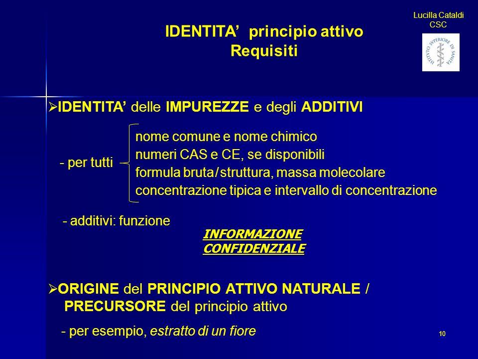 IDENTITA principio attivo Requisiti IDENTITA delle IMPUREZZE e degli ADDITIVI - per tutti - additivi: funzione ORIGINE del PRINCIPIO ATTIVO NATURALE /