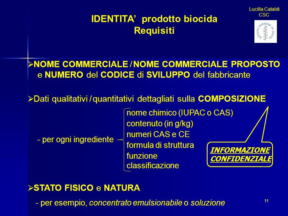 IDENTITA prodotto biocida Requisiti NOME COMMERCIALE / NOME COMMERCIALE PROPOSTO e NUMERO del CODICE di SVILUPPO del fabbricante Dati qualitativi / qu