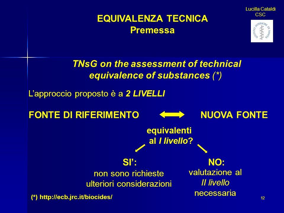 12 Lucilla Cataldi CSC EQUIVALENZA TECNICA Premessa TNsG on the assessment of technical equivalence of substances (*) Lapproccio proposto è a 2 LIVELL