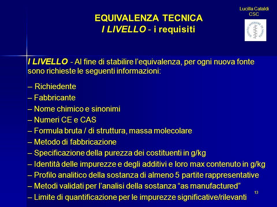 Lucilla Cataldi CSC 13 EQUIVALENZA TECNICA I LIVELLO - i requisiti I LIVELLO - Al fine di stabilire lequivalenza, per ogni nuova fonte sono richieste
